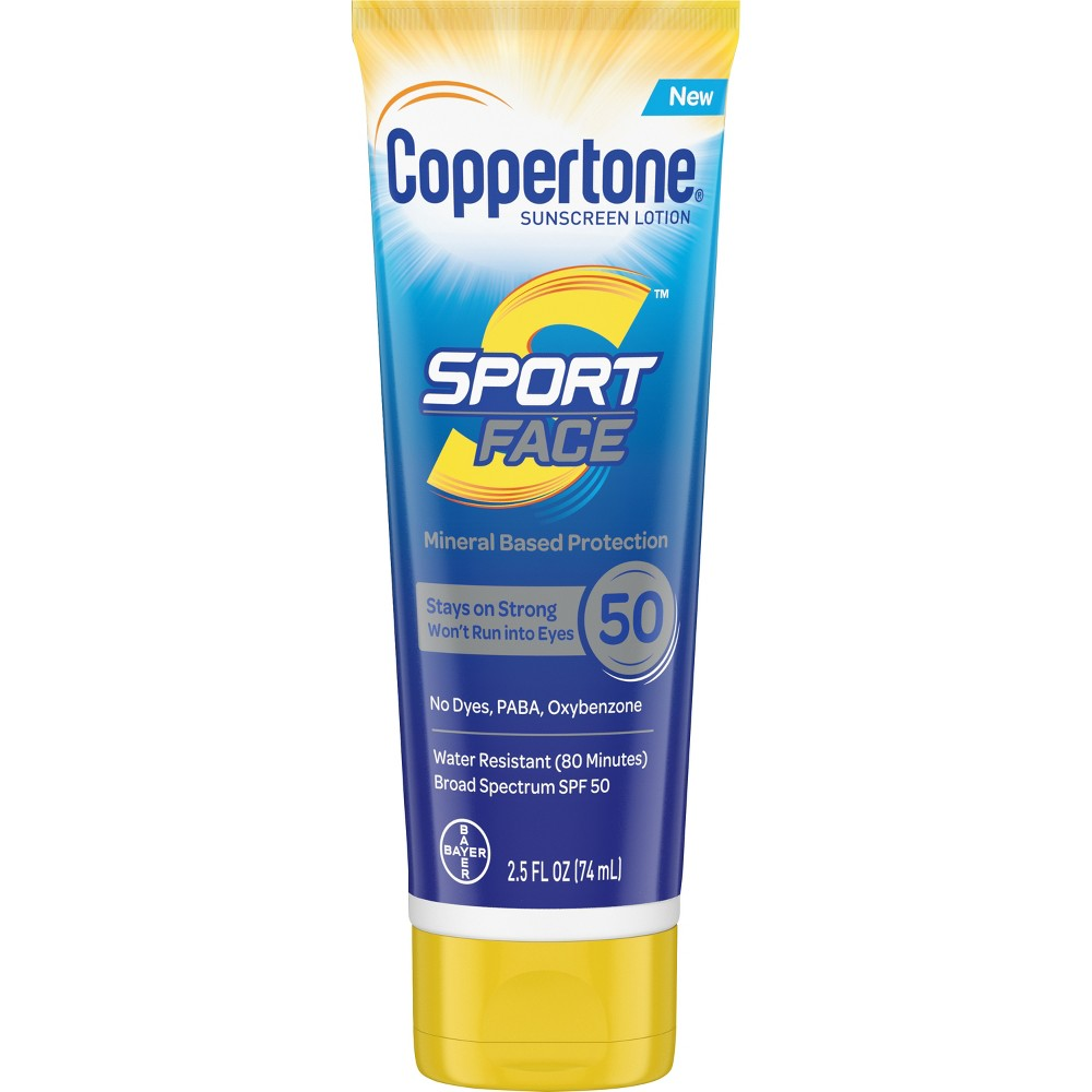 Image of Coppertone Sport Mineral Face Sunscreen Lotion - SPF 50 - 2.5oz