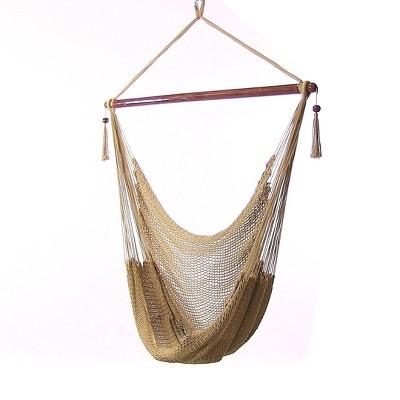 Caribbean Hanging Rope Hammock Chair - Tan - Sunnydaze Decor