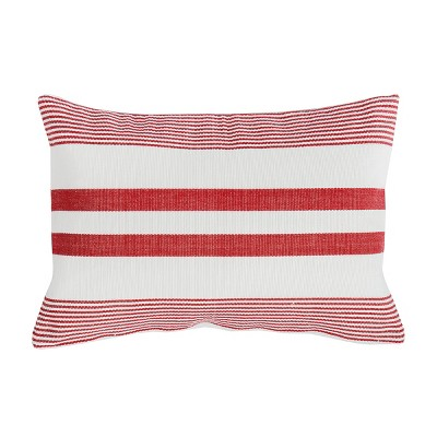 C&F Home Red & White Stripe Cotton July 4th Woven Pillow
