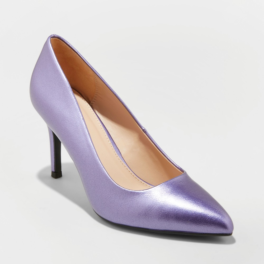 Women's Gemma Wide Width Faux Leather Pointed Toe Heeled Pumps - A New Day Purple 7.5W, Size: 7.5 Wide