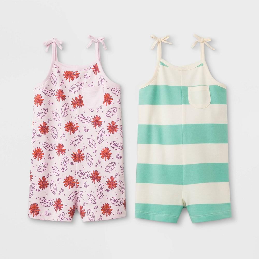Toddler Girls' 2pk Romper - Cat & Jack Light Pink/Mint 5T, Green