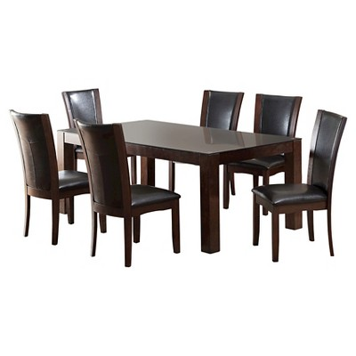 Superbe IoHomes 7pc Tempered Glass Top Dining Table Set Wood/Dark Cherry