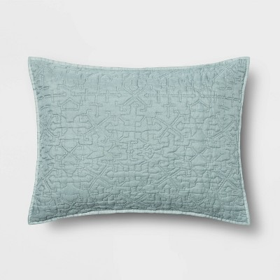 Standard Garment Washed Quilted Pillow Sham Blue - Opalhouse™