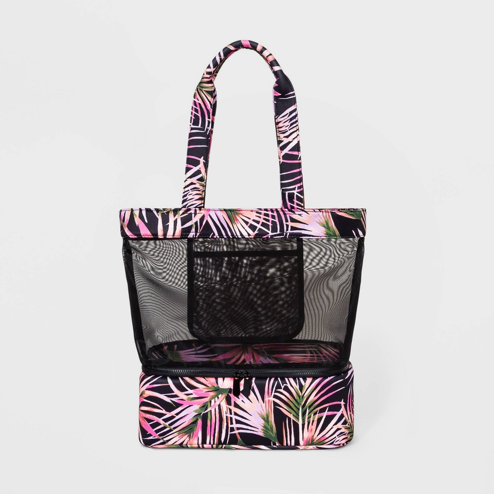 Palm Print Mesh Tote Handbag Shade 38 Shore 8482