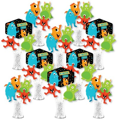 Big Dot of Happiness Monster Bash - Little Monster Birthday Party or Baby Shower Centerpiece Sticks - Showstopper Table Toppers - 35 Pieces