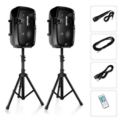 Pyle 8 Inch Active Passive Portable Bluetooth Wireless PA Dual Loudspeaker Sound System Kit with Wired Microphones, Speaker Stand, and Remote Control