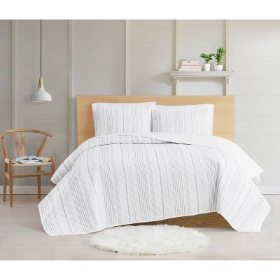 Cottage Classics Warm Hearth Stripe Quilt Set