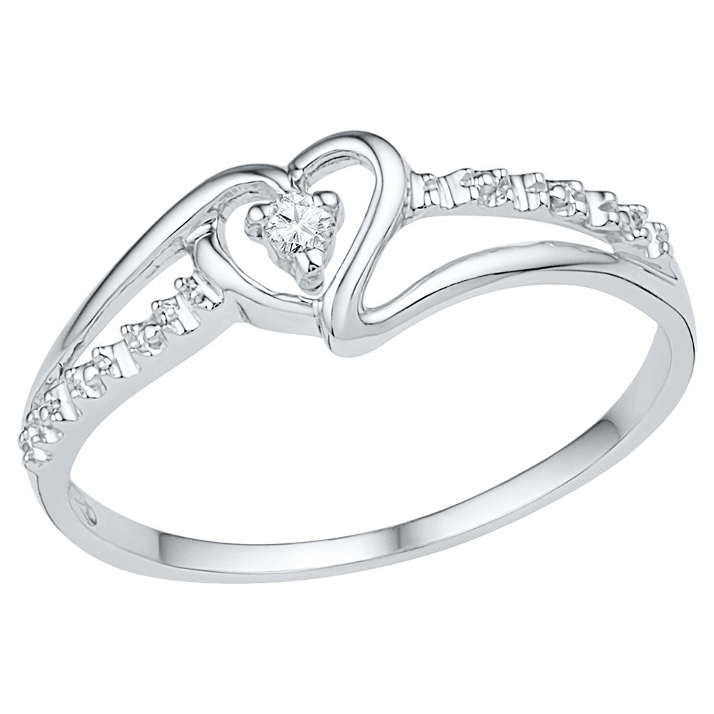1/20 CT. T.W. Round Diamond Prong Set Heart Ring in Sterling Silver (5.5), Girl's, White