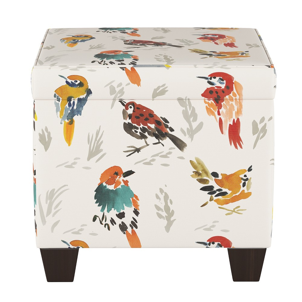 Pattern Fairland Square Storage Ottoman Multi Bird Print - Threshold