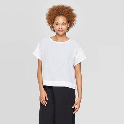 Women's Short Sleeve Crewneck Woven Mesh T Shirt   Prologue by Shirt
