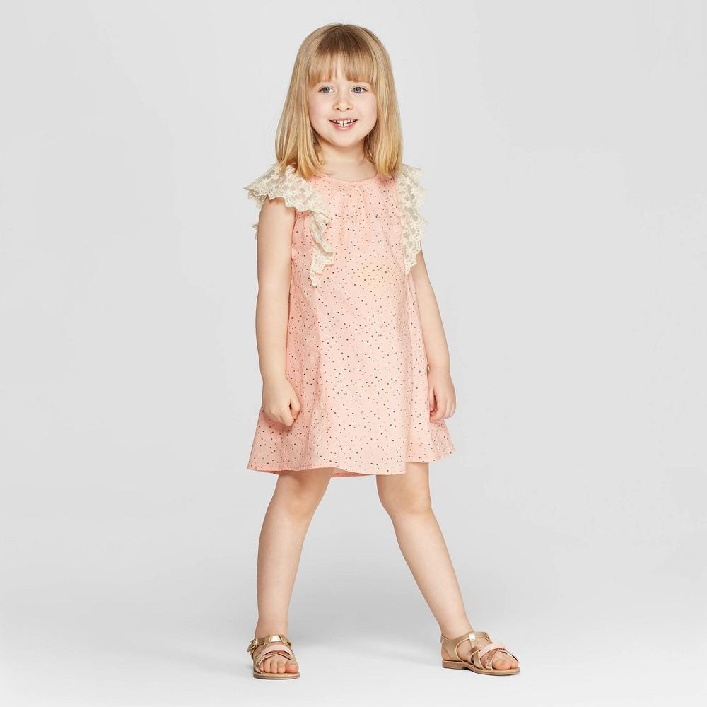 Image of Mila & Emma Toddler Girls' Sleeveless Ruffle Shift Dress - Pink 18M, Girl's