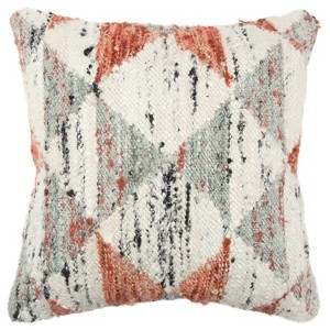 Geometric Decorative Filled Oversize Square Throw Pillow Orange - Rizzy Home