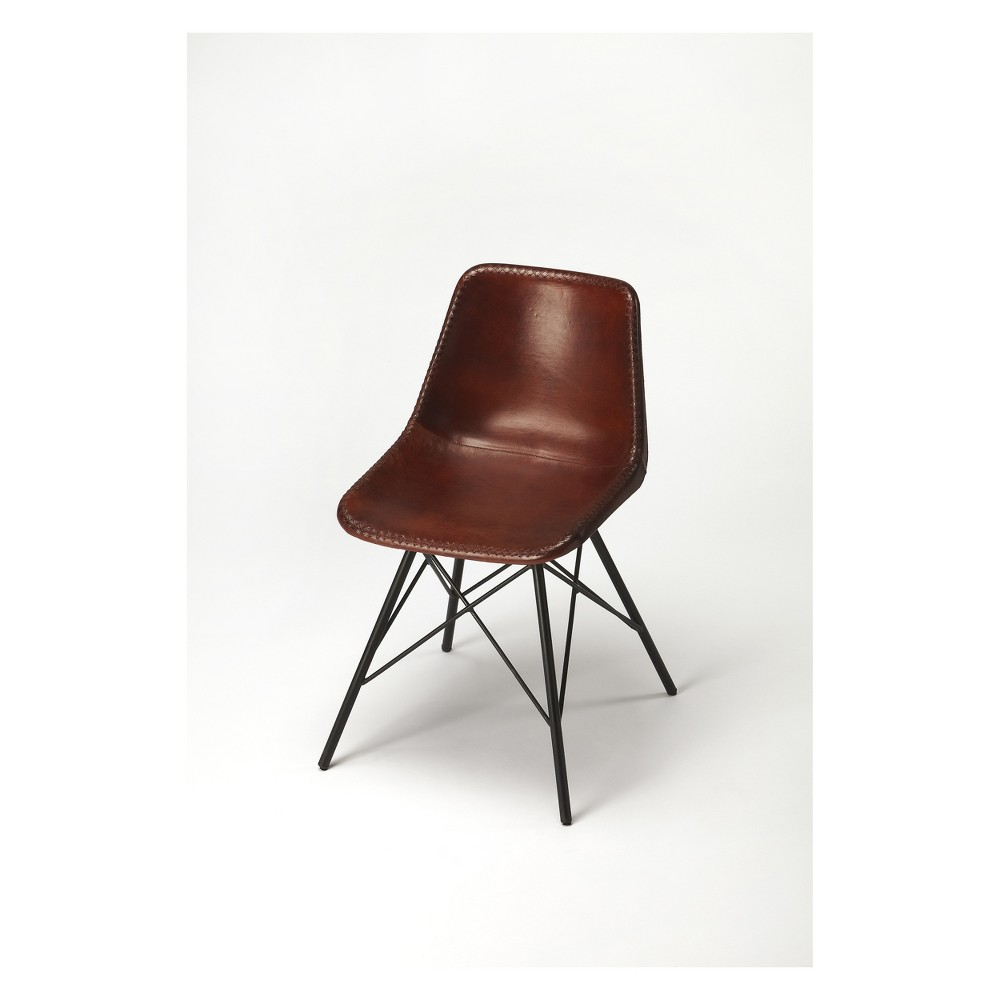 Image of Butler Specialty Inland Brown Leather Side Chair Brown Leather