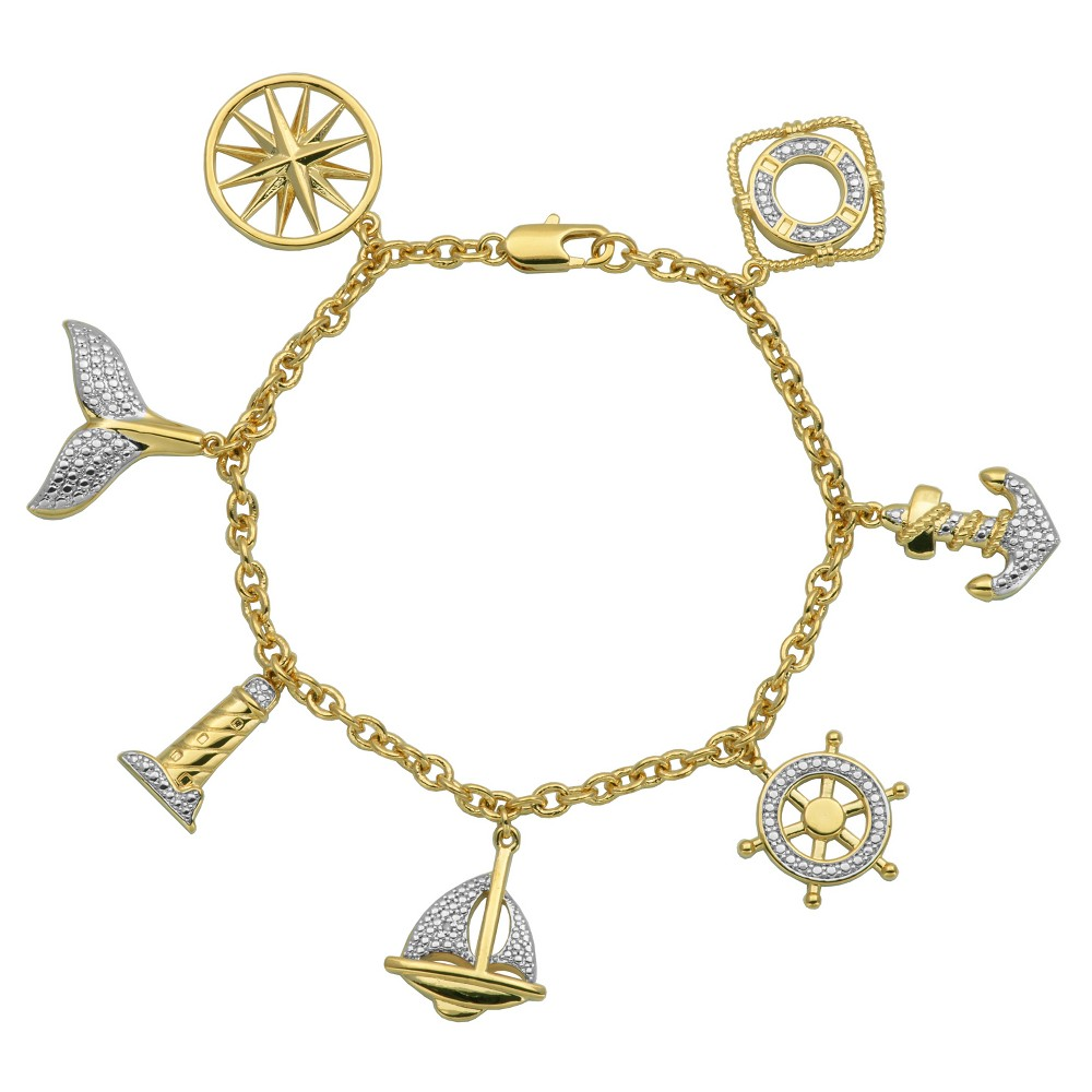 """Image of """"18k Yellow Gold Over Fine Silver Plated Bronze Nautical Sealife Charm Bracelet - 7.25"""""""", Women's"""""""