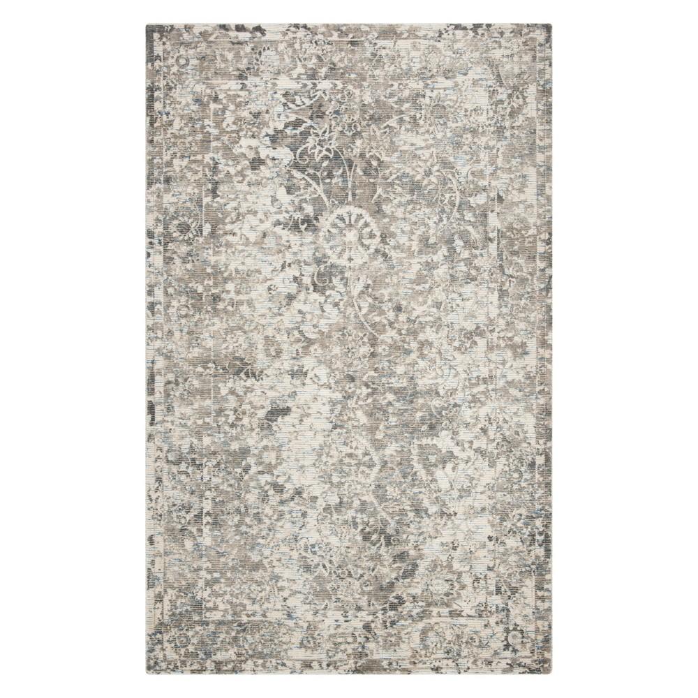 6'X9' Floral Area Rug Charcoal/Cream (Grey/Ivory) - Safavieh