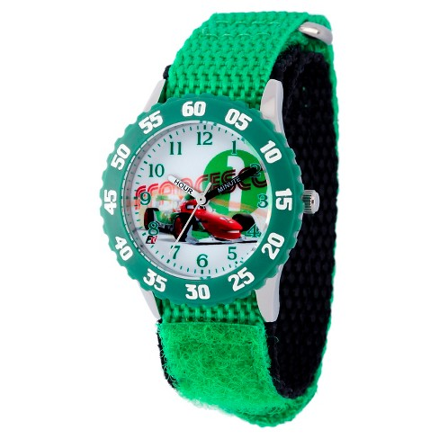 Boys' Disney Cars Stainless Steel with Bezel Watch - Green - image 1 of 2