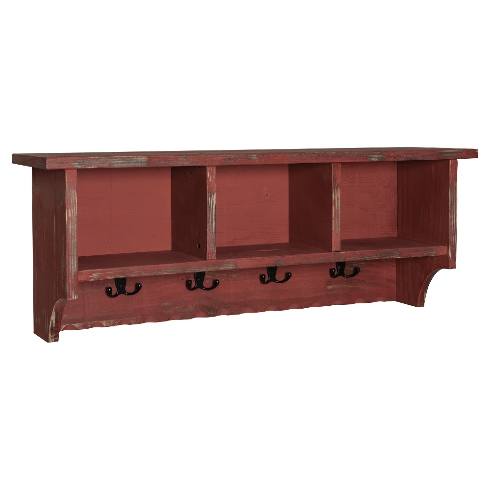Image of 36 Wall Mounted Coat Rack Hardwood Red - Alaterre Furniture