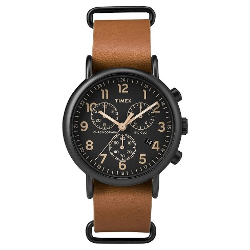 Timex Weekender™ Slip Thru Leather Strap Chronograph Watch - Tan/Black TW2P97500JT - image 1 of 3