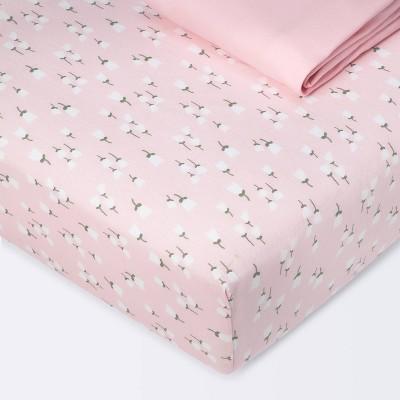 Fitted Crib Sheet Jersey Sheet - Cloud Island™ Floral Buds/Pink 2pk
