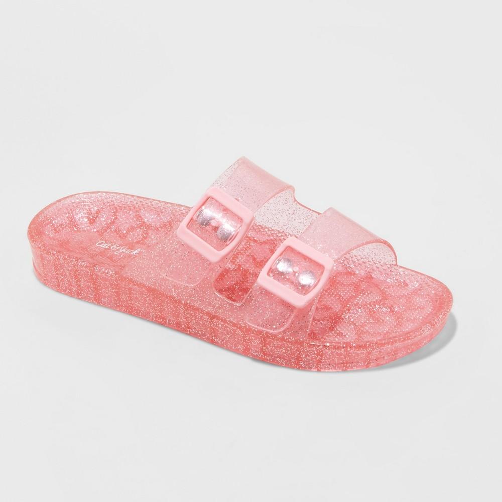 Image of Girls' Susan Glitter Jelly Slide Sandals - Cat & Jack Pink XL, Girl's