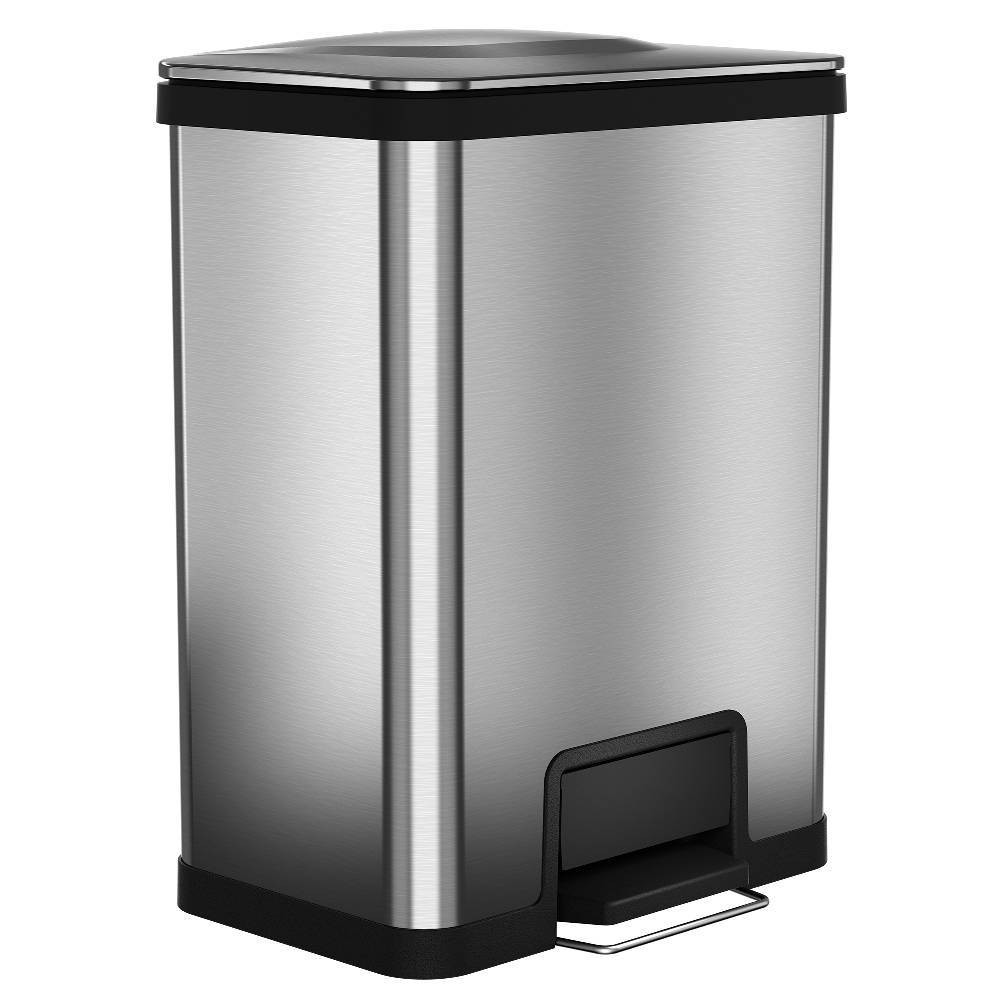 Image of 13gal AirStep Feather Light Stainless Steel Step Trash Can - Halo, Silver