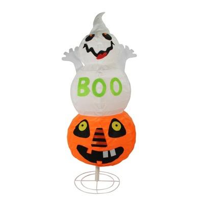 "Northlight 37"" Prelit ""BOO"" Ghost on Jack-o-Lantern Pumpkin Halloween Decoration - White/Orange"