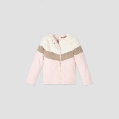 Girls' Chevron Pieced Faux Fur Jacket - Cat & Jack™ Pink L