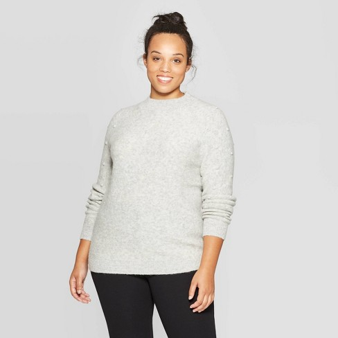 Women's Plus Size Long Sleeve Crewneck Pullover Sweater - Ava & Viv™ Heather Gray - image 1 of 2