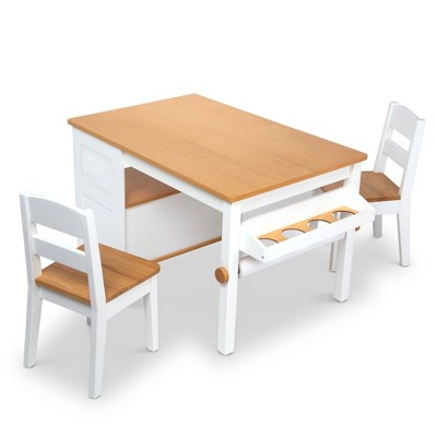 Melissa & Doug Wooden Art Table & Chairs Set