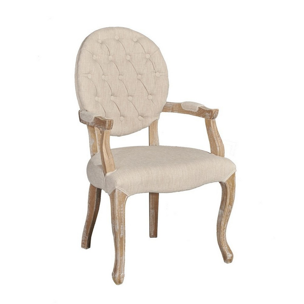 Exeter Linen Arm Chair Natural - Linon, White
