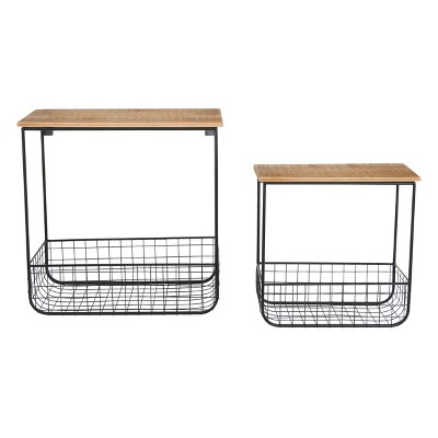 (Set of 2) Wood Wall Shelves with Metal Baskets - 3R Studios