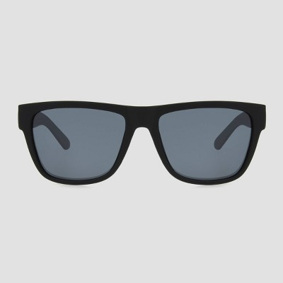 Men's Lifestyle Rubberized Rectangle Sunglasses with Polarized Lenses - All in Motion™ Black
