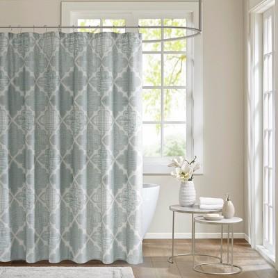 Sidnee Cotton Sateen Shower Curtain Aqua