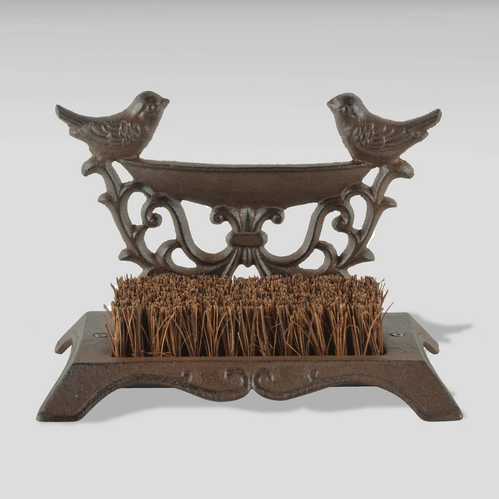 "Image of ""7"""" Iron Bird Boot Brush In A Gift Box Brown - Esschert Design"""