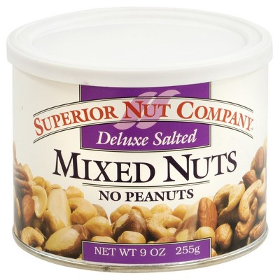Superior Nut Deluxe Salted Mixed Nuts w/ No Peanuts 9oz - 12 ct