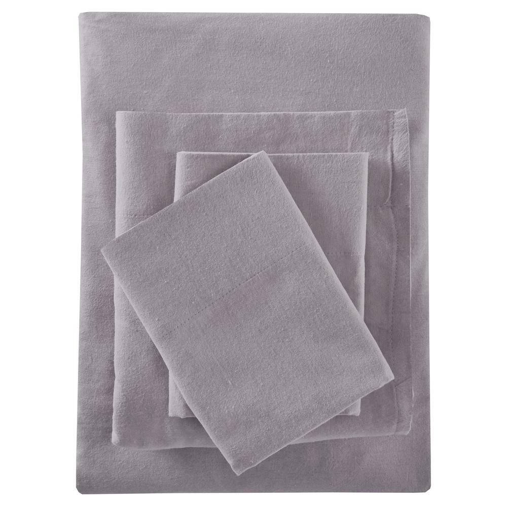 Solid Flannel Sheet Set (Twin) Gray, Gray Solid