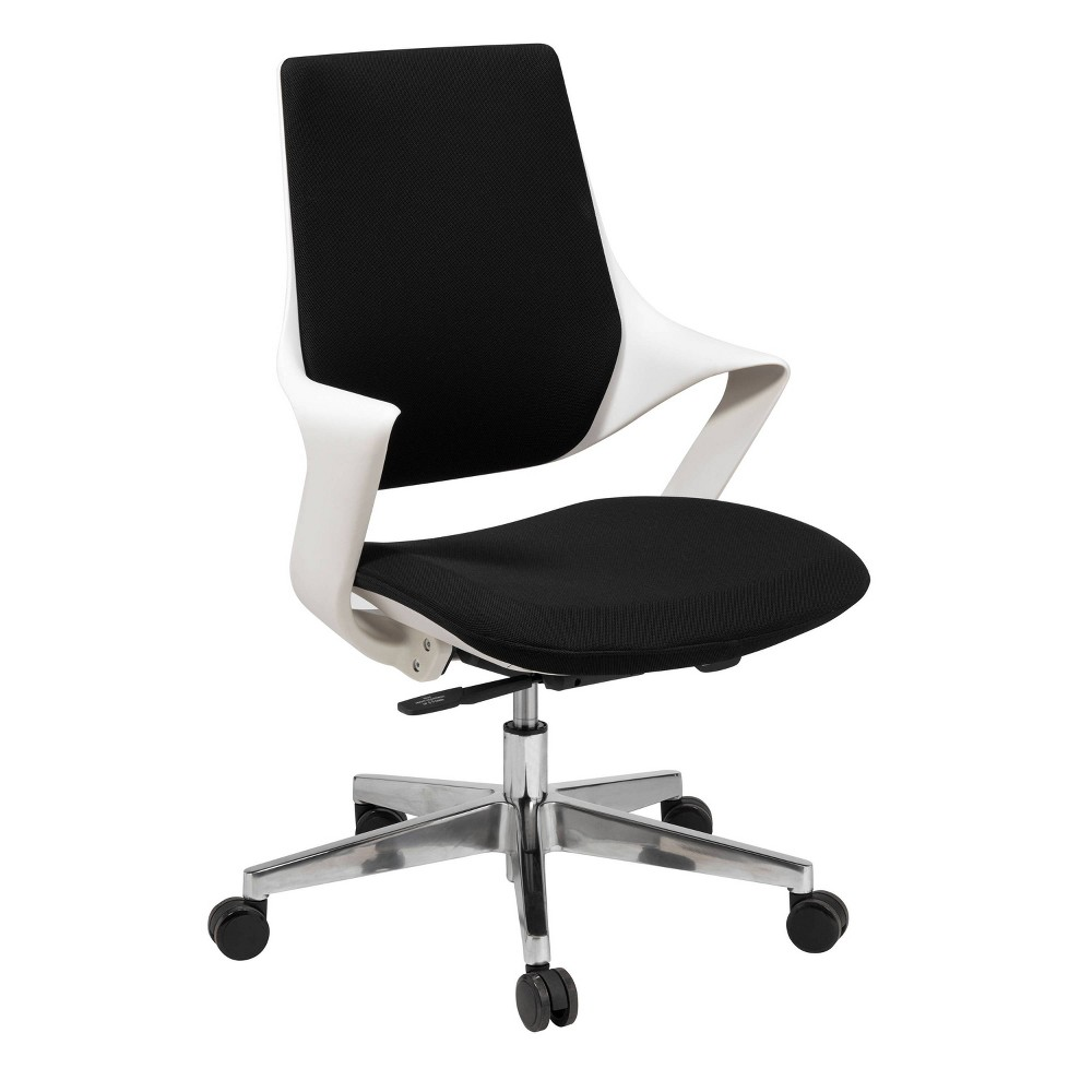 Mia Office Chair Poly Shell and Fabric White/Black - Olio Designs