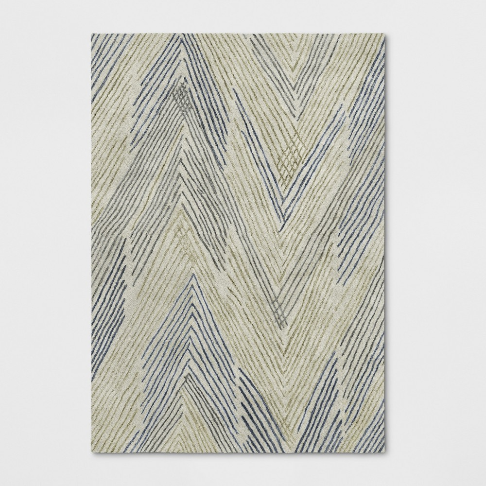 7'X10' Tufted Chevron Area Rug Neutral - Project 62