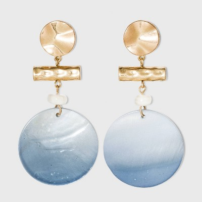 Hammered Metal and Shell Disc Drop Earrings - A New Day™