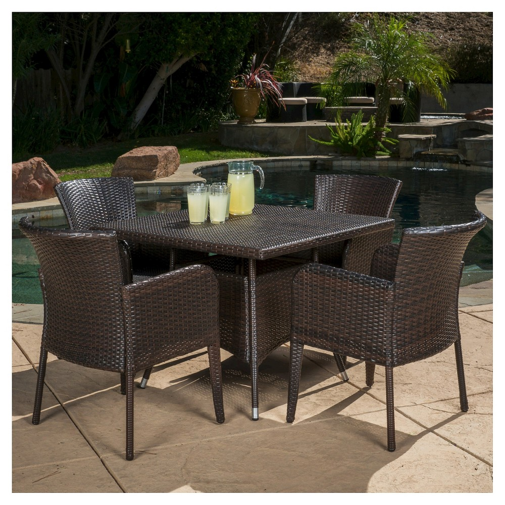 Corsica 5pc Wicker Patio Dining Set - Brown - Christopher Knight Home