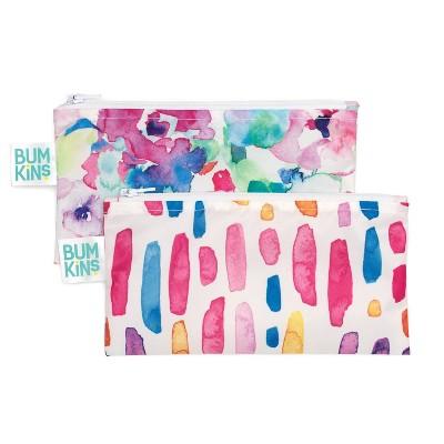 Bumkins Reusable Snack Bag 2-Pack Watercolor/Brush Stroke
