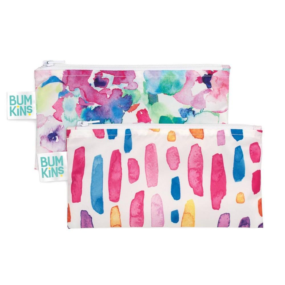 Image of Bumkins Reusable Snack Bag 2-Pack Watercolor/Brush Stroke