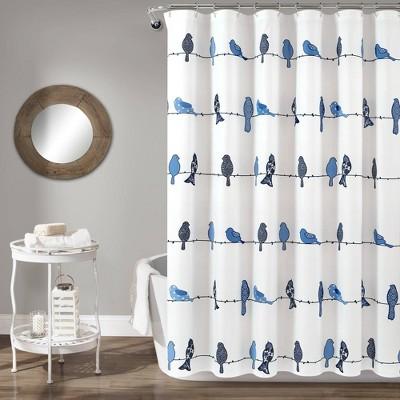 Rowley Birds Shower Curtain Navy - Lush Décor