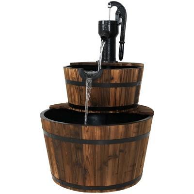 "Sunnydaze 34""H Electric Fir Wood 2-Tier Farmhouse Barrel with Metal Decorative Hand Pump Outdoor Water Fountain"