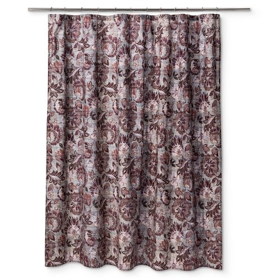 Floral Jacobian Shower Curtain Berry   Threshold™
