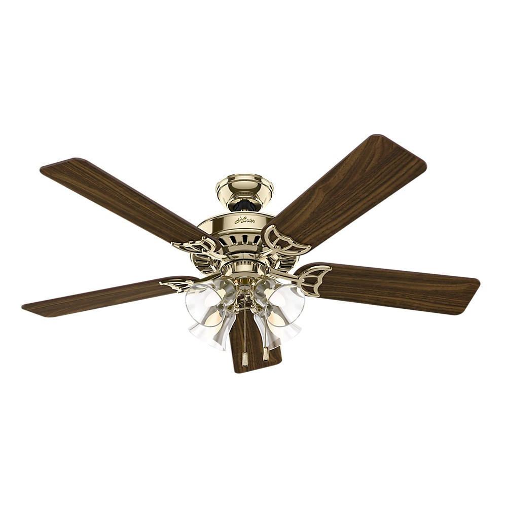 "Image of ""52"""" Studio Series Bright Lighted Ceiling Fan Brass - Hunter Fan"""