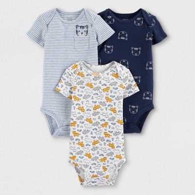 Baby Boys' 3pk Bodysuits - Just One You® made by carter's White/Blue 18M