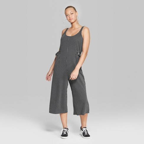 2311ffe33a Women s Striped Cropped Woven Jumpsuit - Wild Fable™ Black White ...
