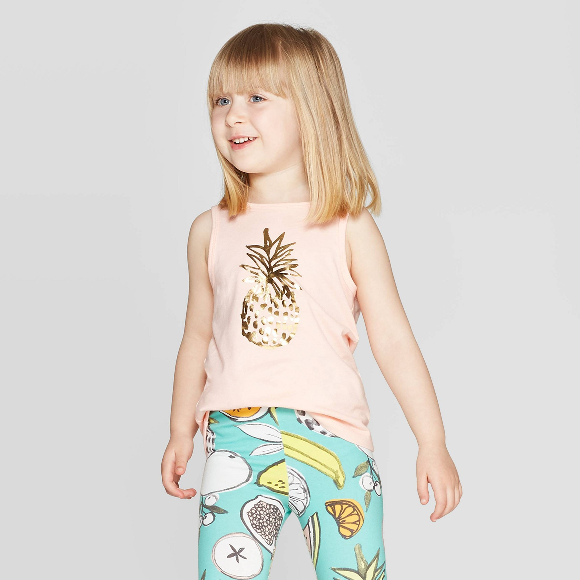 Toddler Girls' 'Fruit' Graphic Tank Top - Cat & Jack Peach 3T, Orange