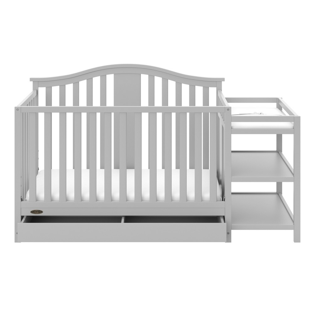 Image of Graco Solano 4-in-1 Convertible Crib and Changer with Drawer - Pebble Gray